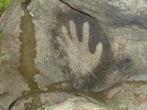 Pre-Columbian Rock Art Hand Print on Enchanting Run